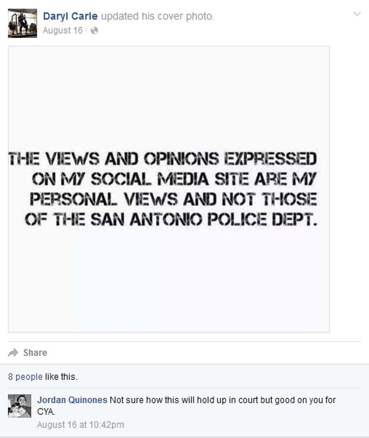 SAPD Officer Daryl Carle was suspended for 30 days for inappropriate social media posts, according to police records.