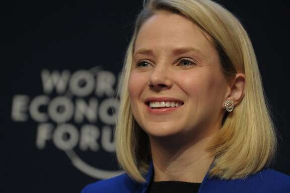 "(FILES) This January 22, 2014 file photo shows Yahoo CEO Marissa Mayer as she takes part in the session ""the new digital context"" on the opening day of the World Economic Forum in Davos. Yahoo's Chairman Maynard Webb said December 9, 2015 that the board had full confidence in chief executive Marissa Mayer, despite the company still struggling to build the value of its Internet operations. AFP PHOTO /ERIC PIERMONT  ERIC PIERMONT/AFP/Getty Images"