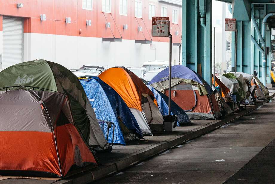 Tents set up under the 101 offramp at Division and Folsom Streets in San Francisco, Calif., Wednesday, December 9, 2015. Photo: Jason Henry, Special To The Chronicle