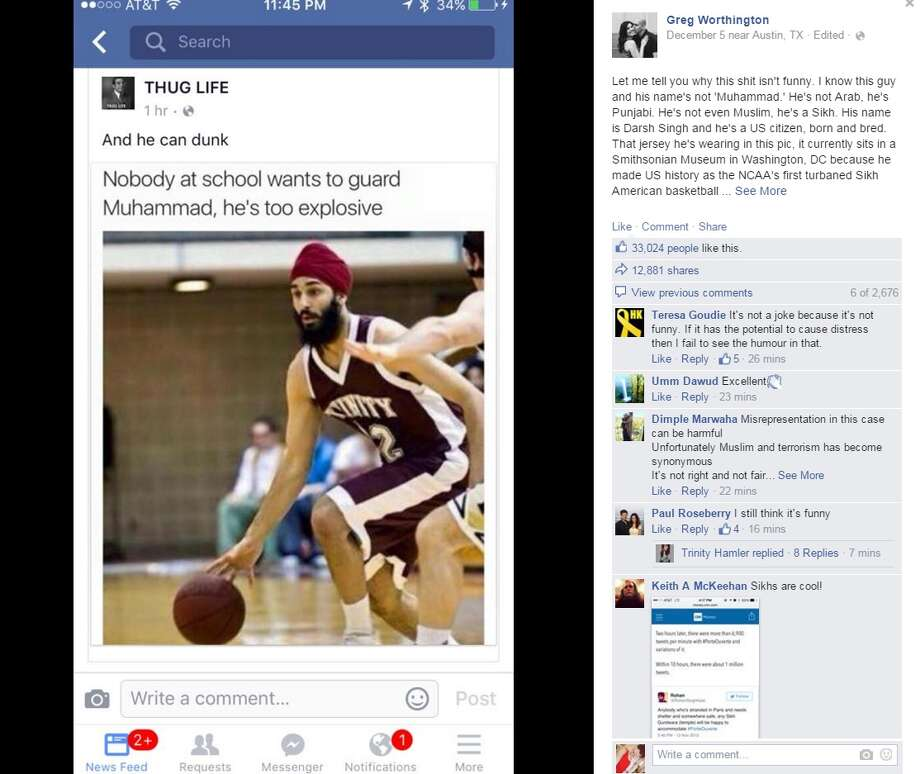 A meme intended to get a few laughs on the internet inadvertently became a viral lesson taught by a San Antonio native who refused to watch his Sikh friend and others from become the butt of a derogatory joke.