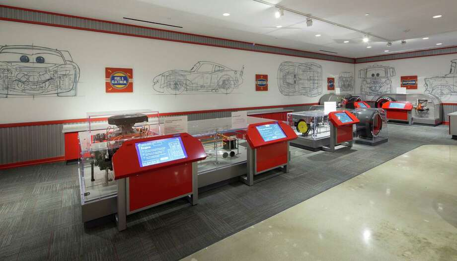 This photo provided by courtesy of the Petersen Automotive Museum shows the Pixar Cars exhibit at the newly renovated Petersen Automotive Museum in Los Angeles. (David Zaitz/Petersen Automotive Museum via AP) Photo: David Zaitz, HONS / Petersen Automotive Museum