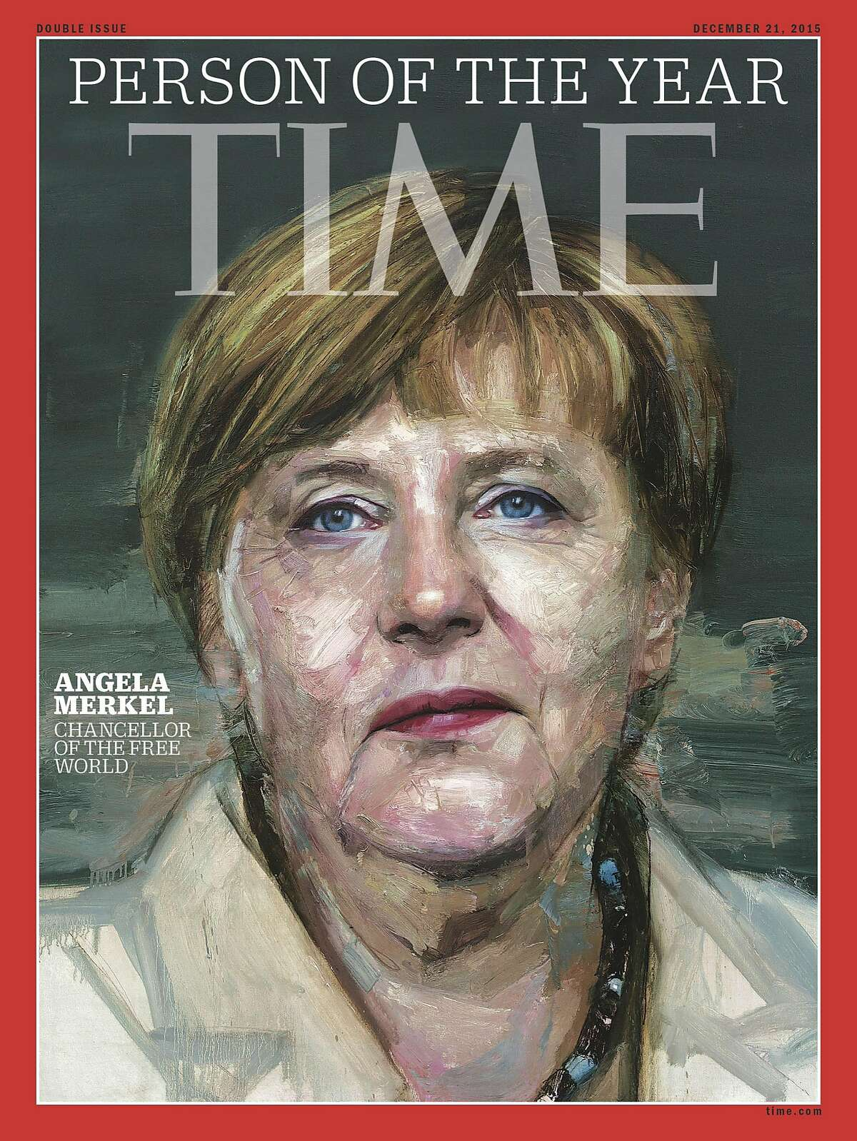 In this image provided by Time Magazine, Wednesday, Dec. 9, 2015, German Chancellor Angela Merkel is featured as Time's Person of the Year. The magazine praises her leadership on everything from Syrian refugees to the Greek debt crisis. (Time Magazine via AP)