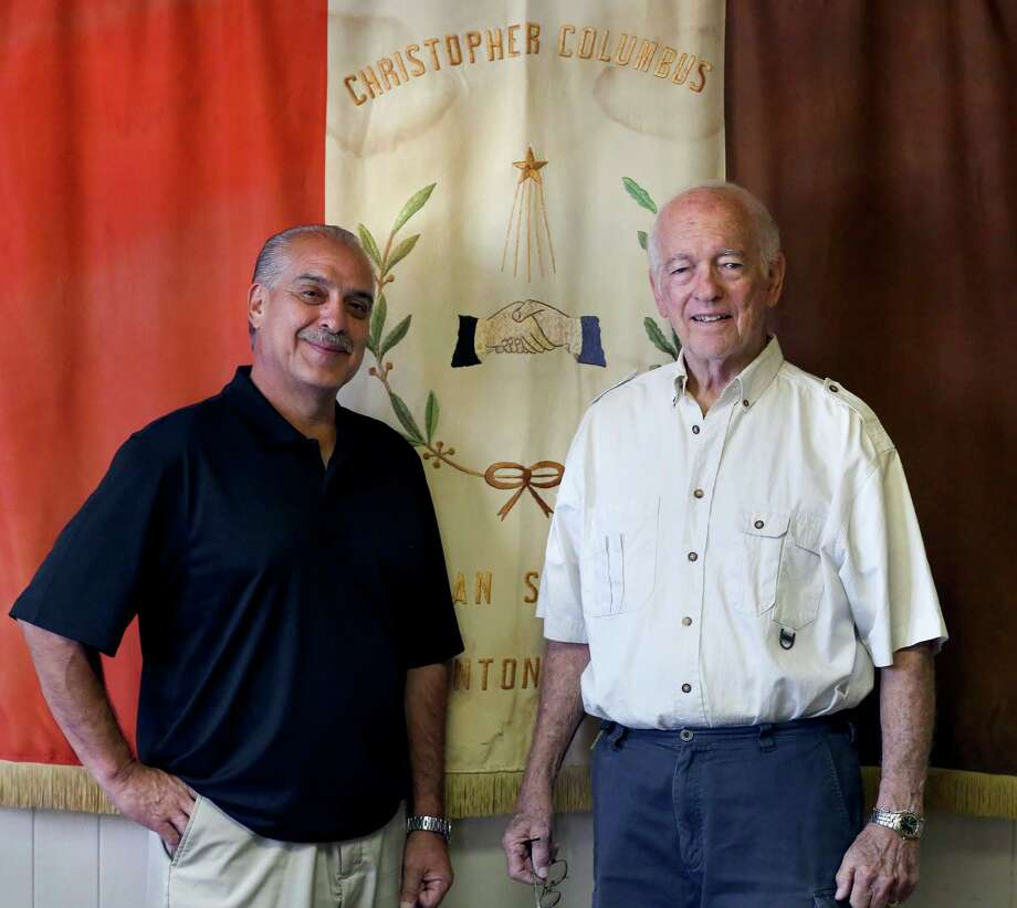 Sam Guido, left, and Billy Kelly pose Oct. 20, 2015 in the Christopher Columbus Italian Society social hall. Photo: William Luther, Staff / San Antonio Express-News / © 2015 San Antonio Express-News