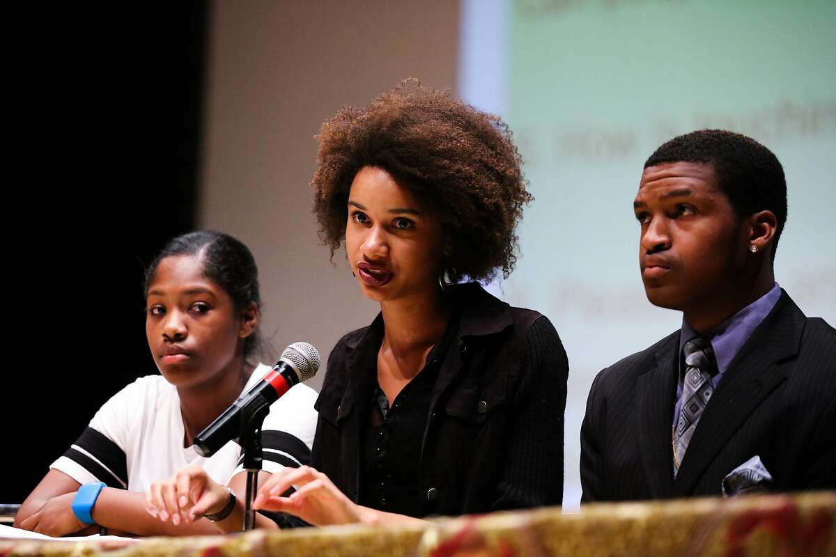 Alecia Harger (center) speaks out about racism at school and what it means to be black, during a press conference, at Berkeley High School, in Berkeley, California on Wednesday, December 9, 2015.