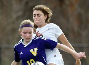 Schalmont's Julia Rossi, right, and Voorheesville's Laura Patak battle for the ball during their Section II Class B soccer final on Saturday, Oct. 31, 2015, at Stillwater High in Stillwater, N.Y. (Cindy Schultz / Times Union)