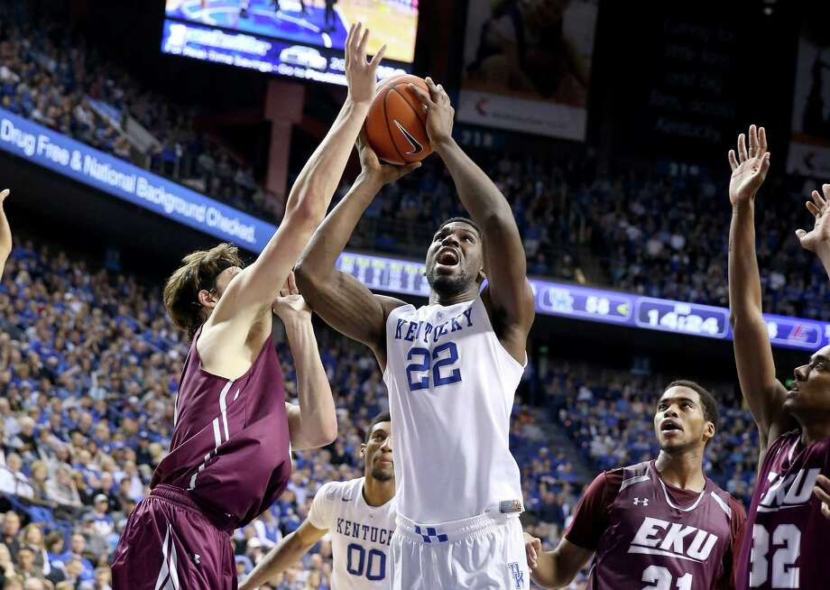 Kentucky's Alex Poythress goes inside during his 21-point, 13-rebound game against Eastern Kentucky. Photo: Andy Lyons, Staff / 2015 Getty Images