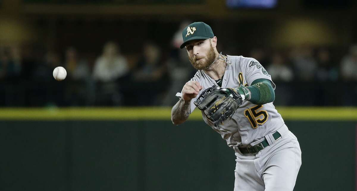 FILE - In this Friday, Oct. 2, 2015 file photo, Oakland Athletics second baseman Brett Lawrie in action in a baseball game in Seattle. The Athletics have traded third baseman Brett Lawrie, as the club had been expected to try to do during baseball's winter meetings, sending him to the Chicago White Sox for right-hander J.B. Wendelken and minor league left-hander Zack Erwin, Wednesday, Dec. 9, 2015. (AP Photo/Elaine Thompson, File)