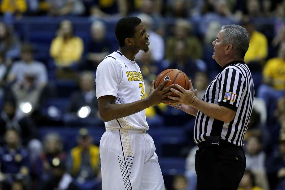 Tyrone Wallace disagrees with a referee about a call he made during a game at Haas Pavilion between the Cal Bears and Incarnate Word in Berkeley, California, on Wednesday, Dec. 9, 2015. Photo: Connor Radnovich, The Chronicle