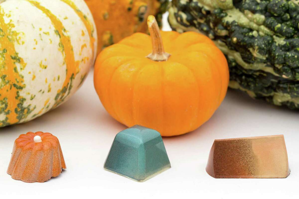 Houston luxury chocolate shop Cacao & Cardamom, 5000 Westheimer, has created several limited-edition flavors inspired by the holidays. Shown: Gingerbread, brown butter sage, and pumpkin caramel truffle bonbons.