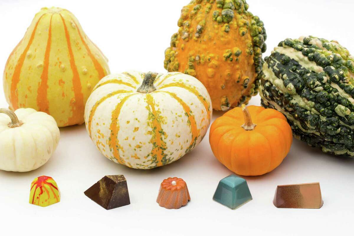 Houston luxury chocolate shop Cacao & Cardamom, 5000 Westheimer, has created several limited-edition flavors inspired by the holidays. Shown: Caramel apple, fig butter, gingerbread, brown butter sage, and pumpkin caramel truffle bonbons.