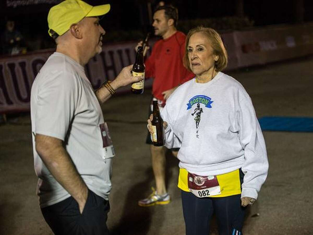 """Elvira """"Vera"""" Montes, an 81-year-old woman from El Paso, became the oldest person to complete the FloTrack Beer Mile World Championships in Austin on Dec. 1, 2015, finishing at 20 minutes and 24.62 seconds."""