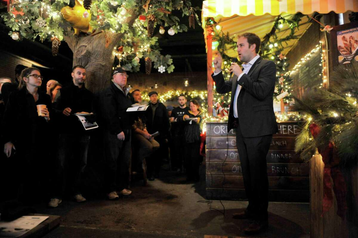 Josh Mohrer, general manager for Uber New York, answers questions during an information meeting held by the company at Wolff's Biergarten on Thursday, Dec. 10, 2015, in Albany, N.Y. (Paul Buckowski / Times Union)