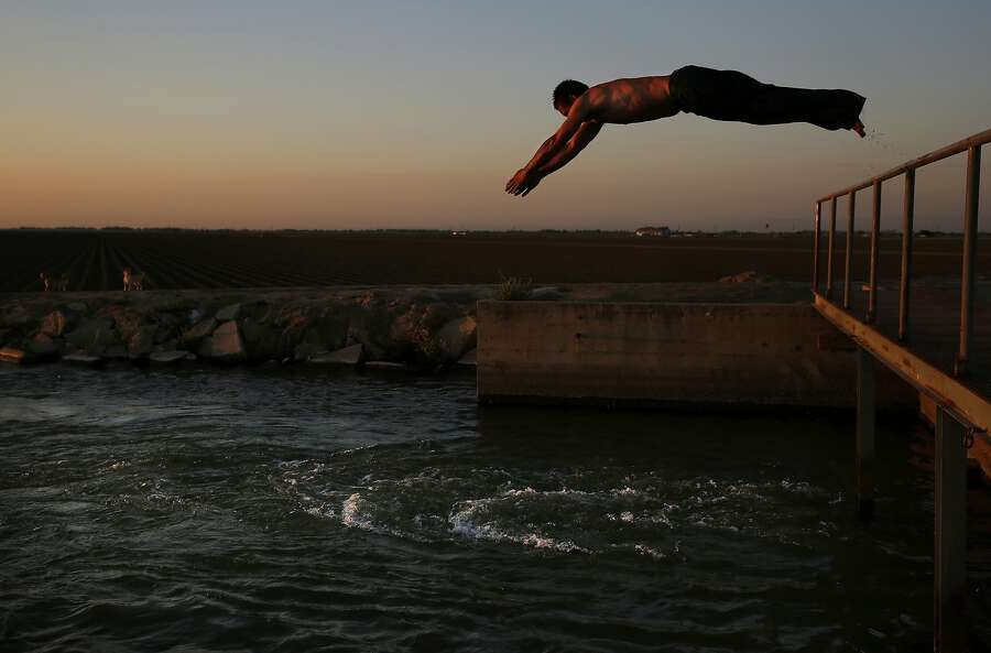 Mart'n Hernandez Mena, 50, dives into an irrigation canal June 9, 2015 near the shantytown he lives in located in a dried up canal bed on Westlands Water District land outside of Mendota, Calif. Photo: Leah Millis, The Chronicle