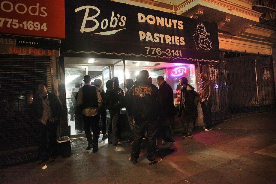 Bob's Donuts & Pastry Shop1621 Polk St.San FranciscoThe creme de la creme of late-night eats: Bob's Donuts in Nob Hill. The legendary donut shop has been open since 1960 and has over 1,900 reviews on Yelp with a 4.5 star rating. If you're feeling competitive at 4 a.m., you can try their donut challenge: eat one donut within three minutes. Photo: Liz Hafalia, The Chronicle
