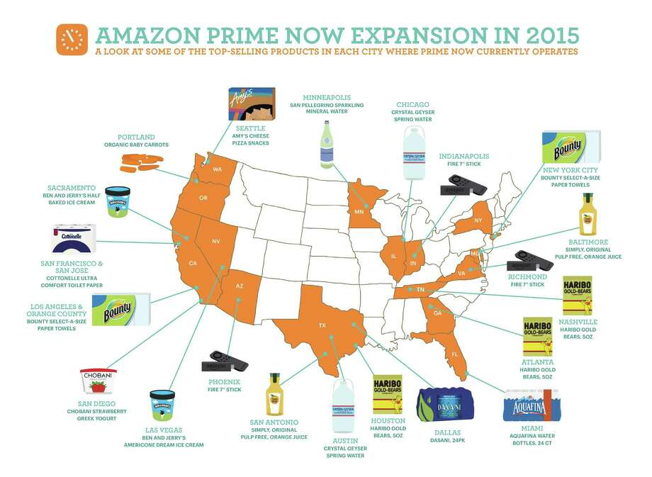 Seattleites love their Amy's Cheese Pizza Snacks, at least when they can order it from Amazon's Prime Now delivery service. Above, Amazon shows the top items from cities across the U.S. ordered through the service. Graphic courtesy Amazon. Photo: Courtesy Amazon