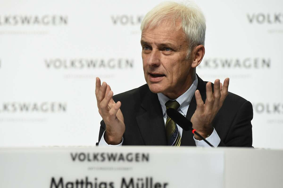 German carmaker Volkswagen CEO Matthias Mueller attends a press conference in Wolfsburg, on December 10, 2015. Executives from embattled car giant Volkswagen released findings of the internal probe into the scandal over pollution test-cheating software installed in 11 million diesel cars worldwide. AFP PHOTO / TOBIAS SCHWARZTOBIAS SCHWARZ/AFP/Getty Images