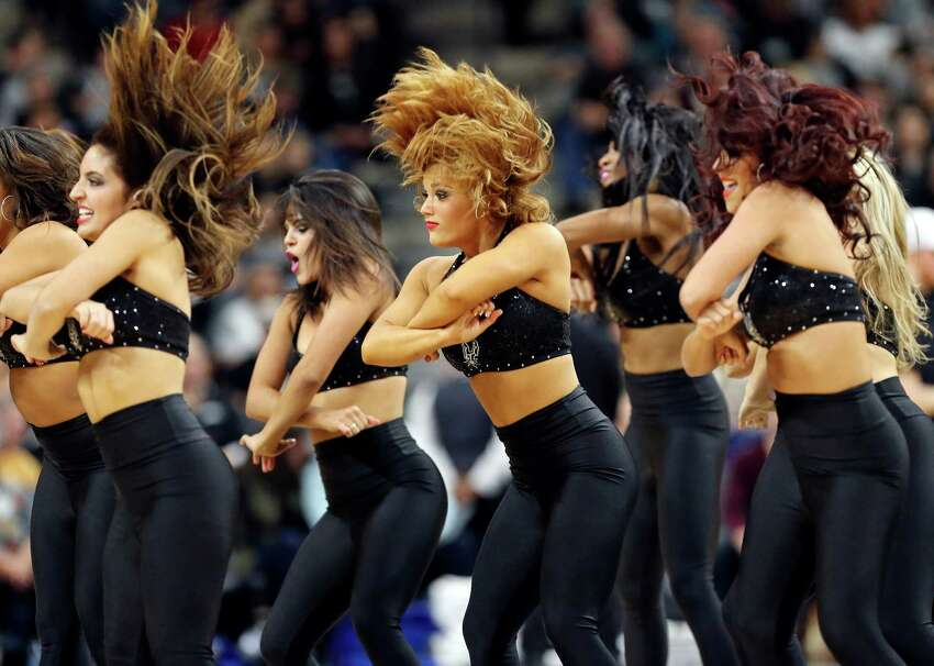 Members of the San Antonio Spurs Silver Dancers perform during the game between the San Antonio Spurs and the Boston Celtics Saturday Dec. 5, 2015 at the AT&T Center.