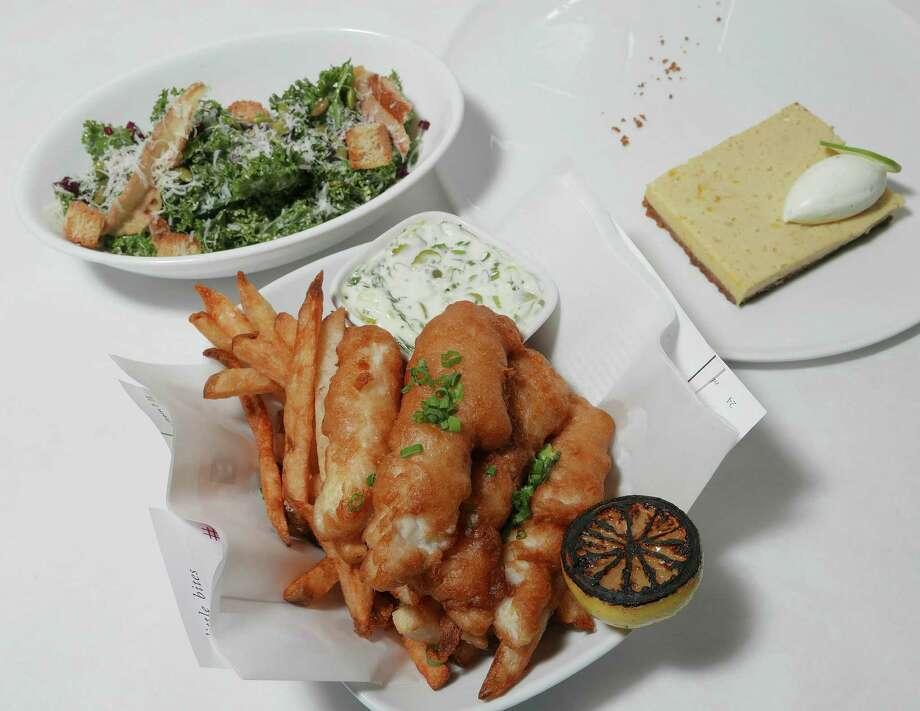 The Metro dinner: kale salad, fish & chips and key lime pie Photo: Billy Calzada /San Antonio Express-News / San Antonio Express-News