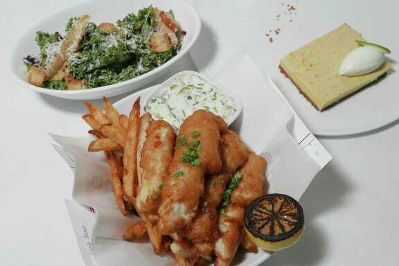 The Metro dinner: kale salad, fish & chips and key lime pie