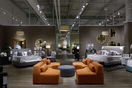A preview of the newest location of Jordan's Furniture before the grand opening on Long Wharf in New Haven.