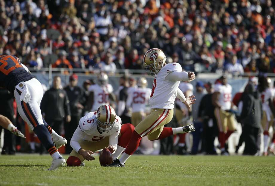 San Francisco 49ers' Phil Dawson (9) kicks  an extra point during the first half of an NFL football game against the Chicago Bears, Sunday, Dec. 6, 2015, in Chicago. (AP Photo/Nam Y. Huh) Photo: Nam Y. Huh, Associated Press