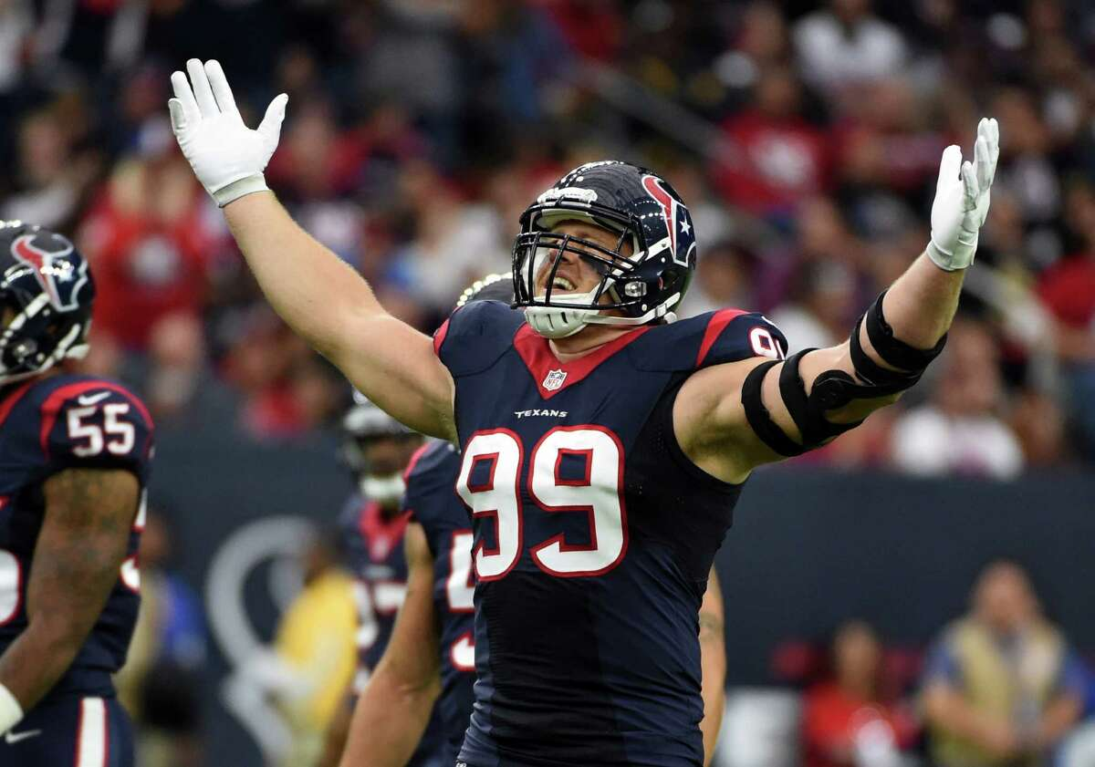 Texans defensive end J.J. Watt broke his left hand during practice Wednesday, but he said he'll play against the Patriots on Sunday.