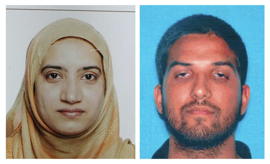 FILE - This undated combination of file photos provided by the FBI, left, and the California Department of Motor Vehicles shows Tashfeen Malik, left, and Syed Farook. The husband and wife died in a fierce gunbattle with authorities several hours after their commando-style assault on a gathering of Farook's colleagues from San Bernardino, Calif., County's health department Wednesday, Dec. 2, 2015. (FBI, left, and California Department of Motor Vehicles via AP, File) Photo: HOGP / FBI and California Department of