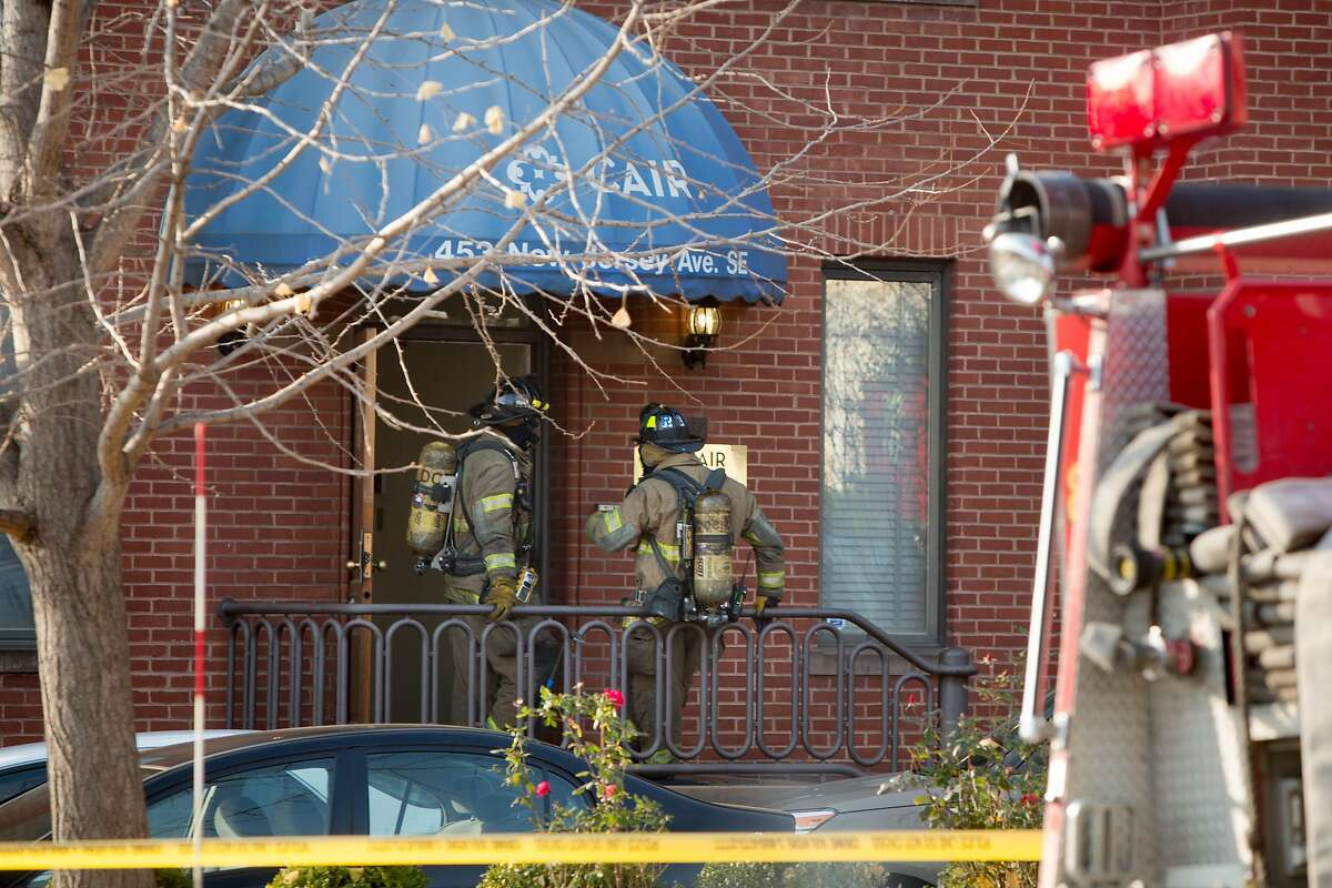 Fire and hazmat crews arrive on the scene to investigate a suspicious letter delivered to the Council on American-Islamic Relations (CAIR) on December 10, 2015 in Washington, D.C. CAIR is the largest non-profit Muslim civil rights and advocacy organization in the United States, with offices two blocks from the U.S. Capitol building.