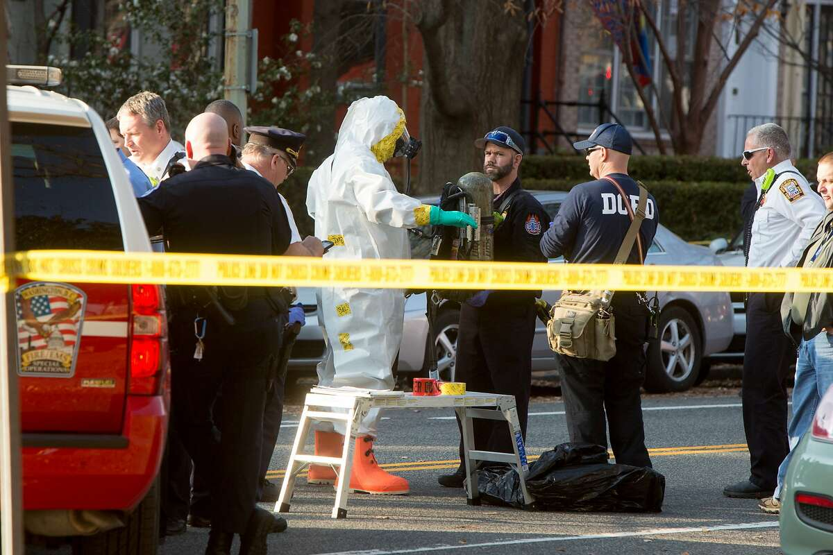 Personnel are decontaminated as fire and hazmat crews investigate a suspicious letter delivered to the Council on American-Islamic Relations (CAIR) on December 10, 2015 in Washington, D.C. CAIR is the largest non-profit Muslim civil rights and advocacy organization in the United States, with offices two blocks from the U.S. Capitol building.