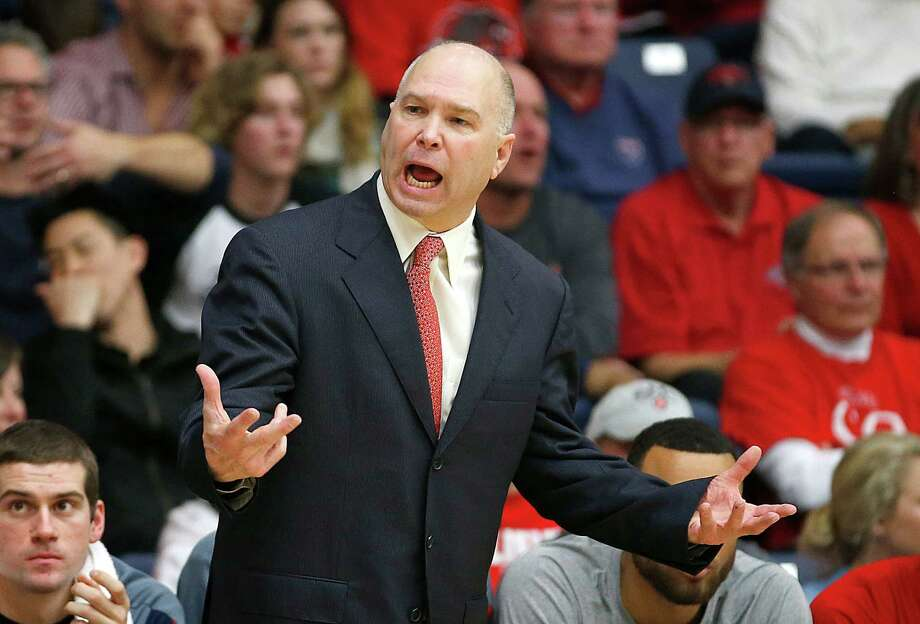 St. Mary's coach Randy Bennett argues a call in the first half against BYU during an NCAA college basketball game in Moraga, Calif., on Saturday, Jan. 17, 2015. (AP Photo/Tony Avelar) Photo: TONY AVELAR / Associated Press / FR155217 AP
