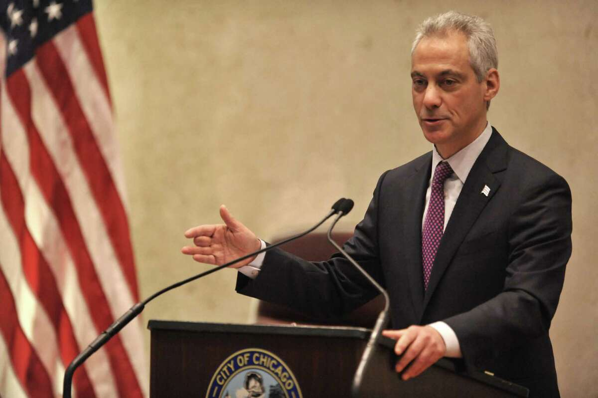 In this photo taken Wednesday, Dec. 9, 2015, Chicago Mayor Rahm Emanuel speaks during a special City Council meeting that he called to discuss a police abuse scandal in Chicago. Many activists and analysts say the steps Mayor Emanuel is taking to hold Chicago police officers accountable for abuses are way too timid. It's tinkering at the edges of deeply flawed structures or merely switching around managers, they argue, when what's needed is to scrap the entire system and start all over. (AP Photo/Paul Beaty) ORG XMIT: CX101