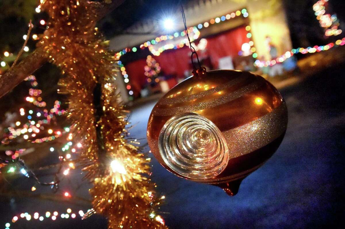 Holiday decorations on display in the 17th annual Light up the Sky with the Marching Rams holiday light display on Thursday, Dec. 10, 2015, at 154 Brookside Ave. in Amsterdam, N.Y. The show runs through Dec. 23 from 6:30 to 9 p.m., weather permitting. The cost is $5 per vehicle with all proceeds benefitting the Amsterdam High marching band. (Cindy Schultz / Times Union)