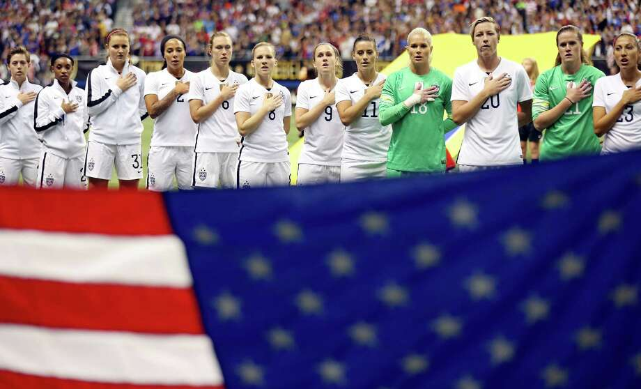 Members of the United States team stand during the national anthem before their international friendly soccer match with Trinidad & Tobago Thursday Dec. 10, 2015 at the Alamodome. Photo: Edward A. Ornelas, Staff / San Antonio Express-News / © 2015 San Antonio Express-News