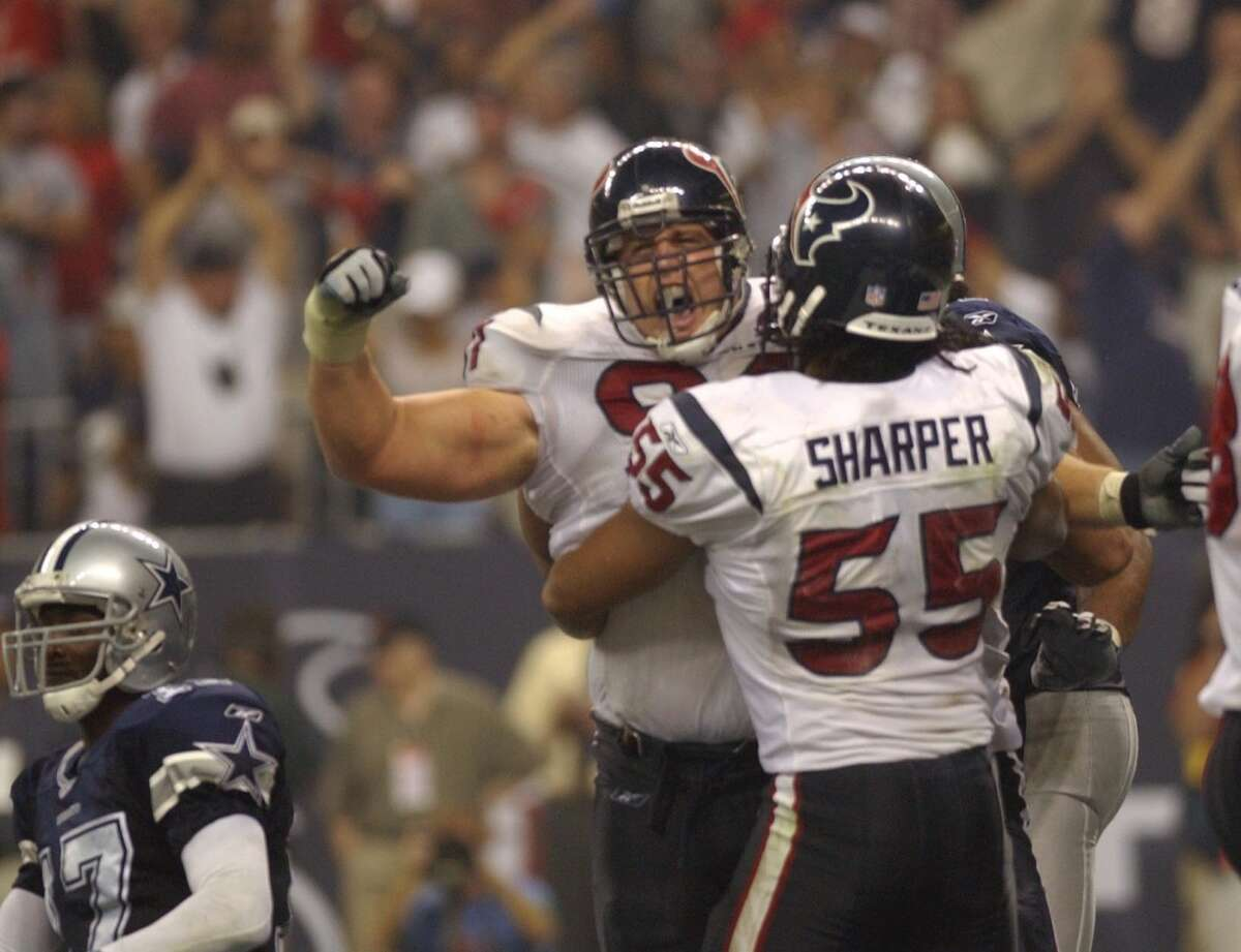 TEXANS 19, COWBOYS 10When: Sunday, Sept. 8, 2002 Network: ESPN Recap: The Texans won their NFL debut on a Sunday Night Football game over the Cowboys at Reliant Stadium in Week 1 of the 2002 NFL season. Dallas entered the game as an 8.5-point favorite, but Houston wasn't going to let anyone ruin its party. Seth Payne's fourth quarter sack of Quincy Carter for a safety was the game-clincher.