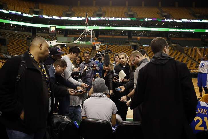 Golden State Warriors' Stephen Curry meet the media after shootaround at TD Garden in Boston, Massachusetts on Friday, December 11, 2015.
