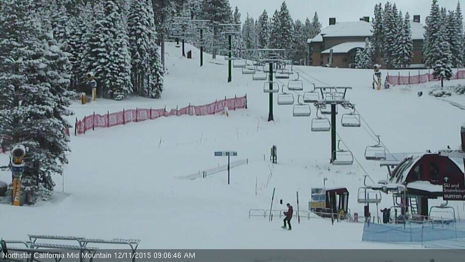 The view of the Northstar Big Easy slope. Up to 20 inches of snow fell across the Sierra by Friday morning Dec. 11, 2015. Photo: TahoeTopia.com