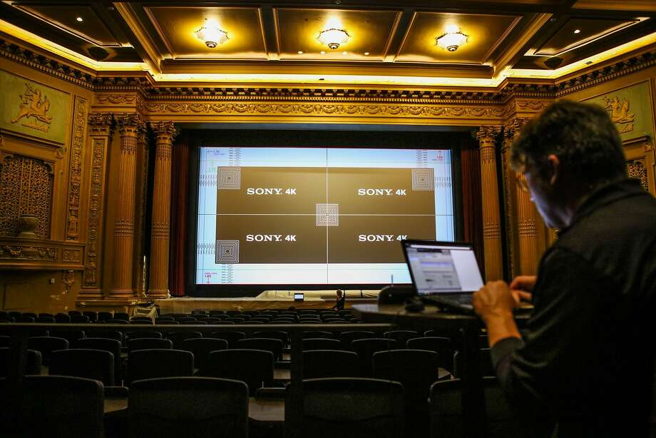 Steve Banaszek, a quality manager at Sony, calibrates the film screen at the Alamo Drafthouse at the New Mission Theater in San Francisco, California on Friday, December 4, 2015. The theater is slated to open December 17th. Photo: Gabrielle Lurie, Special To The Chronicle