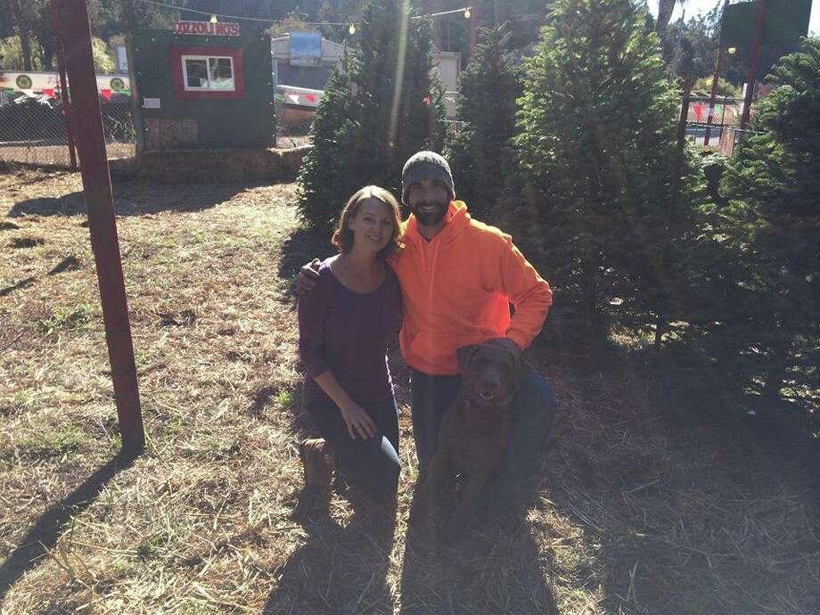 Tony And Stephanie Cozzolino, owners of Cozzolino Christmas Trees in Half Moon Bay. (photo credit: Cozzolino family)