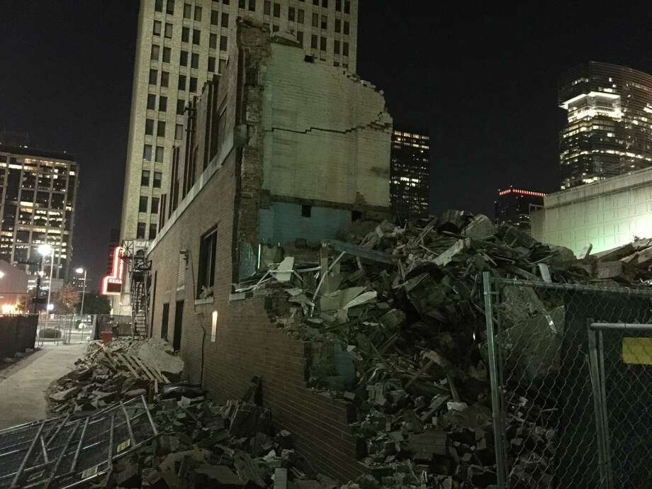 The Hogan-Allnoch Building was recently torn down. For years it was home to a dry goods retailer. Photo: J.R. Gonzales