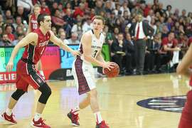 St. Mary's guard Emmett Naar, shown here during the Gaels' win over Stanford on Nov. 22, leads the nation in three-point shooting percentage.  Saint Mary's Men's Basketball vs Stanford Cardinal..78 to 61 Gaels