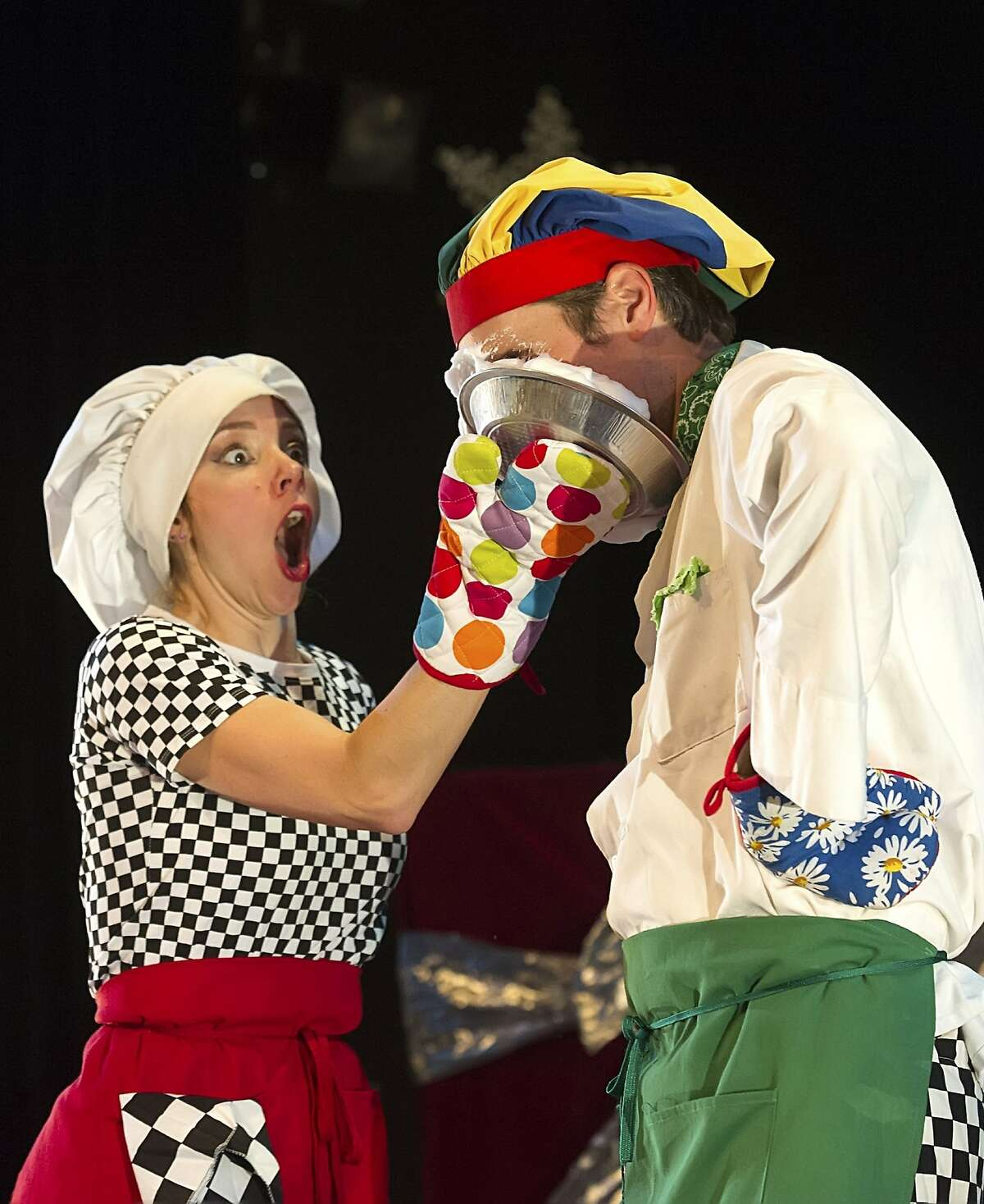 """Coventry & Kaluza 2.jpg Natasha Kaluza (left) and Jamie Coventry comprise the clown duo Coventry & Kaluza. They headline Sweet Can's """"Mittens and Mistletoe: A Winter Circus Cabaret"""" at Dance Mission Theater through Dec. 27. Photo by Shoot That Klown"""