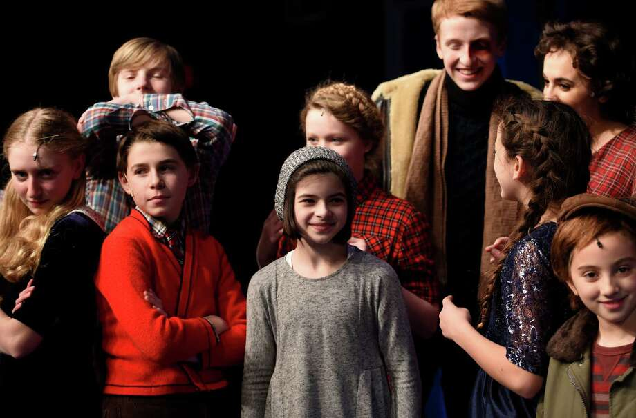 "Broadway actor Gabriella Pizzolo, center, visits Capital Repertory Theater on Friday Dec. 11, 2015 to her friends who are appearing in production of ""A Christmas Story, The Musical"" in Albany, N.Y.     (Skip Dickstein/Times Union) Photo: SKIP DICKSTEIN / 10034626A"