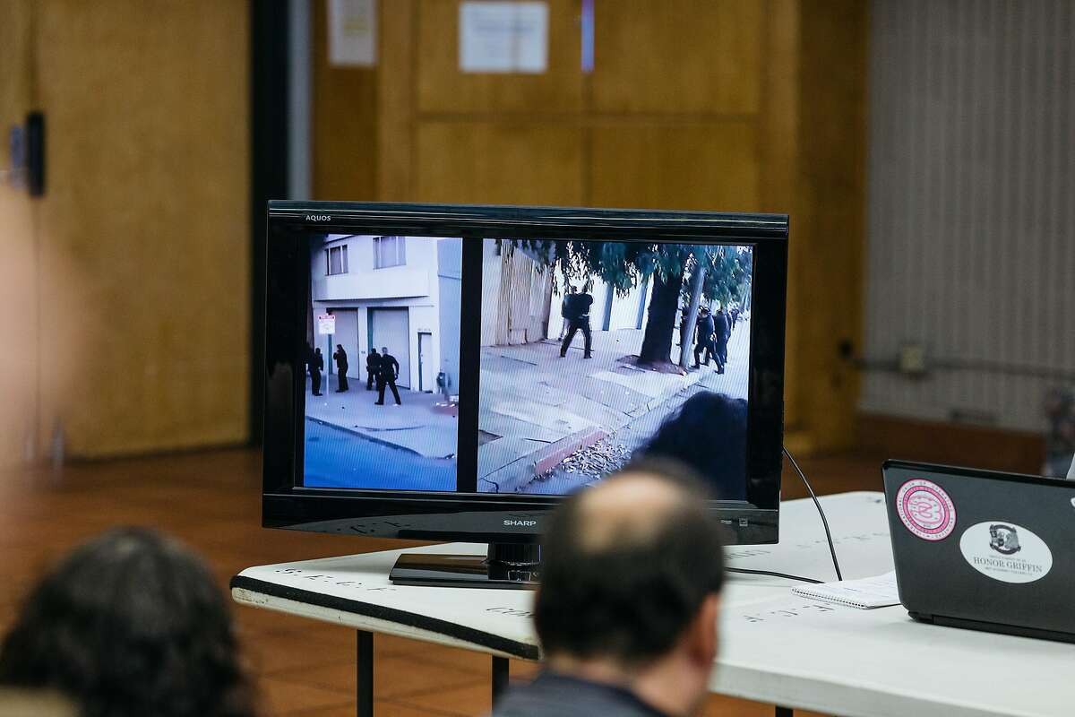 Cell phone video of the killing of Mario Woods by SFPD on December 2 is played on a monitor during a press conference announcing a civil suit at Southeast Community College in San Francisco, Calif., Wednesday, December 9, 2015.