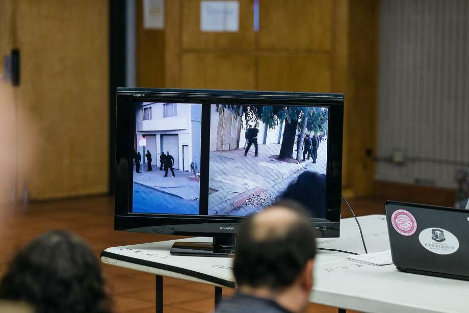 Cell phone video of the killing of Mario Woods by SFPD on December 2 is played on a monitor during a press conference announcing a civil suit at Southeast Community College in San Francisco, Calif., Wednesday, December 9, 2015. Photo: Jason Henry, Special To The Chronicle