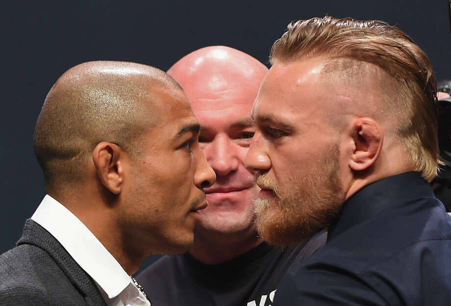 Jose Aldo (left) and Conor McGregor will finally meet in UFC 194 on Saturday night for the UFC featherweight championship. Browse through the photos to see every place in and around Houston that will be showing the fight. Photo: Josh Hedges/Zuffa LLC, Getty Images / 2015 Zuffa LLC