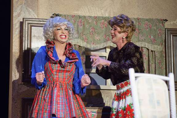 "D'Arcy Drollinger, who plays Rose, and Matthew Martin, who plays Blanche, perform in the ""The Golden Girls: The Christmas Episodes,"" at Victoria Theatre, Thursday, Dec. 10, 2015, in San Francisco, Calif."