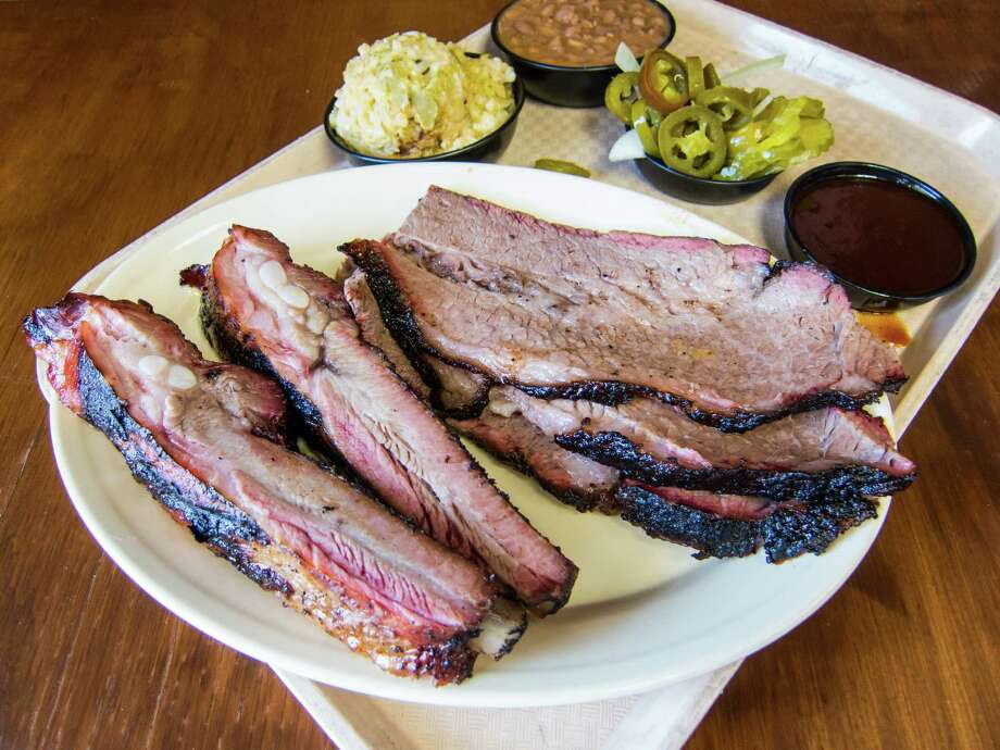 Brisket and ribs at Tin Roof BBQ in Atascocita.