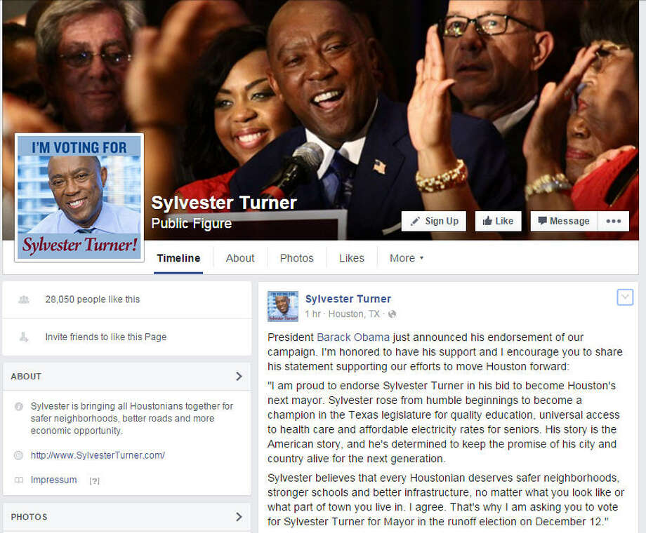 President Barack Obama has endorsed Sylvester Turner in the Houston mayoral race, the candidate announced on Facebook. Photo: Facebook.com/sylvesterturner/