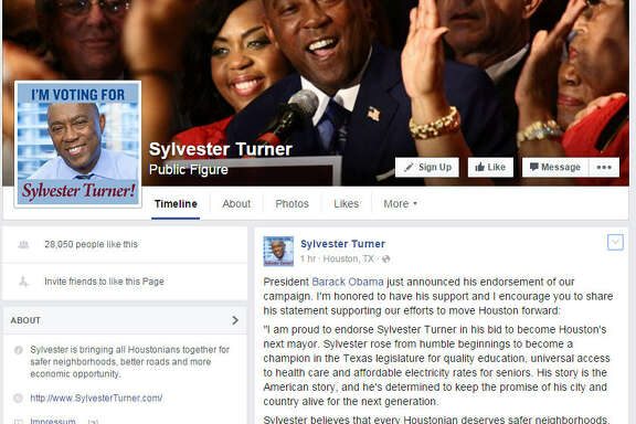 President Barack Obama has endorsed Sylvester Turner in the Houston mayoral race, the candidate announced on Facebook.