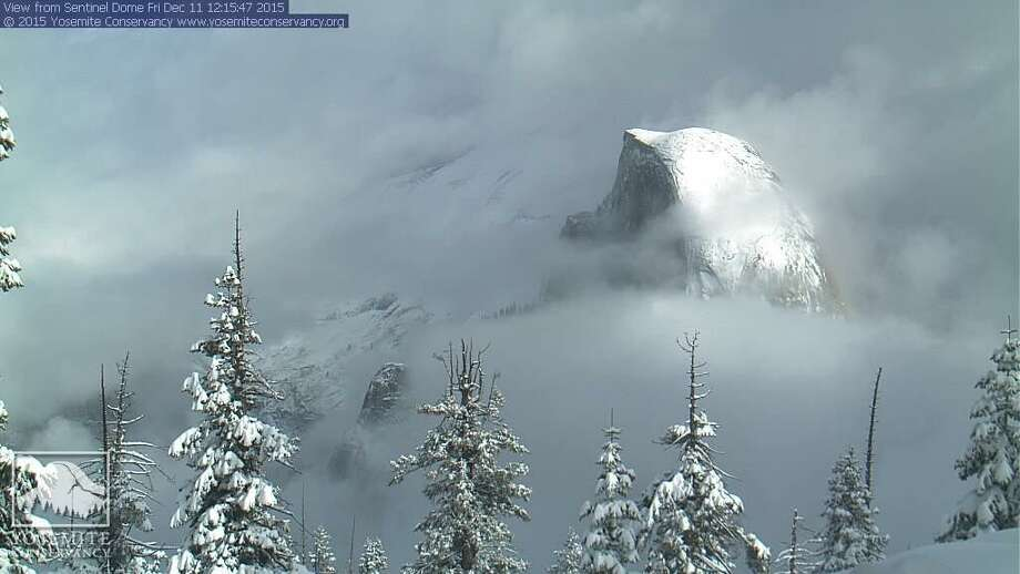 Half Dome in snow seen from a weather camera on Sentinel Dome in Yosemite National Park. Photo: Yosemite Conservancy